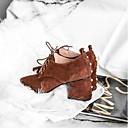ieftine Sandale de Damă-Pentru femei Pantofi Piele de Căprioară Primăvară Confortabili Tocuri Toc Îndesat Negru / Maro