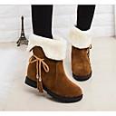 זול נעלים שטוחות לנשים-בגדי ריקוד נשים נעליים PU חורף נוחות / מגפי שלג מגפיים עקב נמוך שחור / חום / אדום