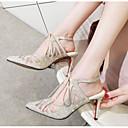 povoljno Ženske sandale-Žene Cipele Ovčja koža Ljeto Udobne cipele / Obične salonke Sandale Stiletto potpetica Crn / Bež