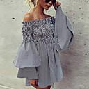 cheap Ceiling Lights-Women's Daily / Going out Basic / Elegant Puff Sleeve Slim Chiffon Dress - Striped Lace up High Waist Deep V Spring Black XL XXL XXXL / Sexy