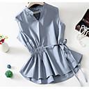 abordables Disfraces de Anime-Mujer Básico Camisa, Escote en Pico Un Color Azul Piscina L