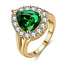 cheap Rings-Women's Emerald Hollow Out Ring - Gold Plated Asian 6 / 7 / 8 / 9 Gold For Ceremony Carnival