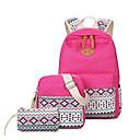 זול Elementary Backpacks-יוניסקס שקיות בַּד תיק לבית הספר דוגמא \ הדפס פוקסיה / כחול סקיי / חאקי