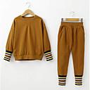 ieftine Seturi Îmbrăcăminte Fete-Copii Fete Activ / Șic Stradă Ieșire Dungi / Bloc Culoare Imprimeu Manșon Lung Bumbac Set Îmbrăcăminte