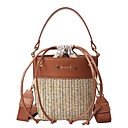 cheap Travel Health-Women's Bags Straw Shoulder Bag Zipper Black / Blushing Pink / Brown