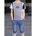 ieftine Top Băieți-Copii Băieți De Bază Geometric / Bloc Culoare Manșon scurt Bumbac Set Îmbrăcăminte