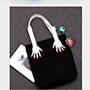 זול ארנקים-בגדי ריקוד נשים שקיות כותנה תיק יד דוגמא \ הדפס שחור