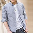 abordables Camisas de Hombre-Hombre Negocios / Básico Trabajo Tallas Grandes Algodón Camisa, Cuello Americano Delgado Un Color Blanco 41 / Manga Larga