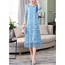 baratos Guarda-Chuva/Sombrinha-Mulheres Para Noite Reto Vestido Médio