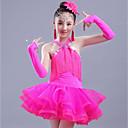 cheap Kids' Dancewear-Latin Dance Dresses Girls' Performance Spandex / Organza Ruching / Tassel Sleeveless Dress