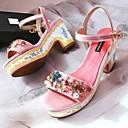 povoljno Ženske sandale-Žene Cipele Brušena koža Ljeto Udobne cipele Sandale Kockasta potpetica Crn / Pink / Lila-roza