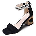 ieftine Sandale de Damă-Pentru femei PU Vară D'Orsay & Două Bucăți Sandale Toc Îndesat Vârf pătrat Negru / Roz