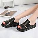 povoljno Ženske sandale-Žene Cipele Mekana koža Ljeto Udobne cipele Sandale Ravna potpetica Zatvorena Toe Obala / Crn