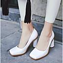 זול נעלי עקב לנשים-בגדי ריקוד נשים נעליים PU קיץ נוחות עקבים עקב עבה בוהן סגורה לבן / שחור