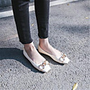 povoljno Ženske ravne cipele-Žene Cipele Koža Proljeće ljeto Udobne cipele Ravne cipele Ravna potpetica Trg Toe Obala / Crn