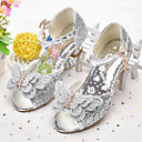 cheap Girls' Shoes-Girls' Shoes Faux Leather Spring & Summer Flower Girl Shoes Sandals Bowknot / Sequin for Kids Gold / Silver / Pink