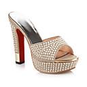 baratos Sapatos de Noiva-Mulheres Couro Ecológico Verão Conforto / Plataforma Básica Sandálias Salto Robusto Dourado / Prata