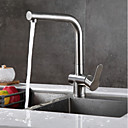 cheap Kitchen Faucets-Kitchen faucet Brushed Steel Pull-out / ­Pull-down Free Standing