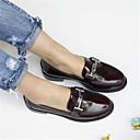 ieftine Flip-Flops de Damă-Pentru femei Pantofi Piele Primavara vara Confortabili Mocasini & Balerini Toc Îndesat Vârf rotund Negru / Roșu Vin
