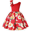 cheap Girls' Dresses-Kids / Toddler Girls' Active / Sweet Holiday Solid Colored / Floral / Color Block Print Sleeveless Above Knee Dress