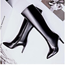 cheap Women's Boots-Women's Shoes Nappa Leather Fall & Winter Slingback / Fashion Boots Boots Stiletto Heel Closed Toe Knee High Boots Black