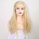 cheap Costume Wigs-Synthetic Lace Front Wig Women's Curly Blonde Braid Synthetic Hair 24 inch Adjustable / Heat Resistant Blonde Wig Long Lace Front Light Blonde / Yes