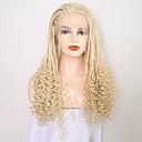 ieftine Peruci Dantelă Sintetice-Lănțișoare frontale din sintetice Pentru femei Buclat Blond Fâșie Păr Sintetic 24 inch Ajustabil / Rezistent la Căldură Blond Perucă Lung Față din Dantelă înălbitor Blonde
