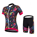 cheap Rubik's Cubes-Malciklo Women's Short Sleeves Cycling Jersey with Shorts - Black Floral / Botanical British Bike Clothing Suits Spandex Coolmax Lycra