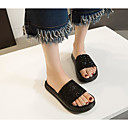 povoljno Ženske ravne cipele-Žene Cipele PU Ljeto Udobne cipele Papuče i japanke Ravna potpetica Crn / Fuksija