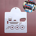 cheap Bakeware-Train Locomotive Loco Cookies Stencils Pancake Biscuit Cutter Coffee Draw Mold Fondant Baking Tools