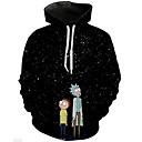 cheap Dog Collars, Harnesses & Leashes-Men's Plus Size Active / Exaggerated Long Sleeve Loose Hoodie - 3D / Cartoon Print Hooded Blue 4XL / Fall / Winter