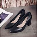 hesapli Suni Çiçek-Kadın's Ayakkabı Nappa Leather Bahar Rahat Topuklular Kalın Topuk Günlük için Siyah