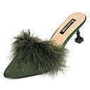 olcso Női csizmák-Női Slingback Műszőrme / PU Nyár Klumpák és papucsok Cicasarok Erősített lábujj Barna / Katonai zöld / Mandula