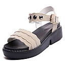 ieftine Sandale de Damă-Pentru femei PU Vară Pantof cu Berete Sandale Toc Platformă Negru / Migdală