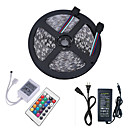 cheap LED Strip Lights-5m Light Sets / RGB Strip Lights 300 LEDs 5050 SMD 1 24Keys Remote Controller / 1 X 5A power adapter RGB Cuttable / Linkable / Self-adhesive 12 V 1pc