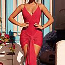 abordables Artículos para Halloween-Mujer Discoteca Sensual Pitillo Corte Bodycon Vestido - Espalda al Aire / Enredado, Un Color Mini Escote en V Profunda