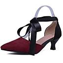 hesapli Kadın Topukluları-Kadın's Topuklular Konforlu Ayakkabılar Düşük Topuk Süet Yaz Beyaz / Siyah / Şarap / Günlük