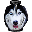 cheap Mice-Men's Plus Size Punk & Gothic / Exaggerated Long Sleeve Hoodie - 3D Print Round Neck Black XL / Fall