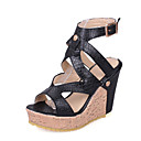 cheap Women's Sandals-Women's Shoes PU(Polyurethane) Spring & Summer Gladiator Sandals Wedge Heel Open Toe White / Black / Party & Evening