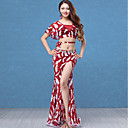 cheap Dance Accessories-Belly Dance Outfits Women's Performance Lace / Tulle Lace / Ruching / Split Short Sleeve Dropped Skirts / Top