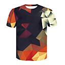 cheap Necklaces-Men's T-shirt - Geometric / 3D Print Round Neck / Short Sleeve