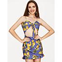 זול שרשרת אופנתית-מיני פרחוני - שמלה צינור פשוט בסיסי בגדי ריקוד נשים
