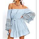 رخيصةأون صنادل نسائية-فستان نسائي تقليم الدانتيل قصير جداً أزرق لون سادة دون الكتف كم مضيئة, مناسب للعطلات / مناسب للخارج