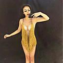 preiswerte Kleidung für Lateinamerikanischen Tanz-Tanzkostüme Exotische Tanzbekleidung / Nachtclub Overalls Damen Leistung Elasthan Quaste / Kristalle / Strass Ärmellos Gymnastikanzug / Einteiler