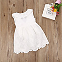 cheap Women-Kids Girls' Active / Sweet Daily / Weekend White Solid Colored Backless / Bow Sleeveless Above Knee Cotton Dress White
