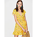 cheap Lip Stain-Women's Ruffle Daily / Holiday Basic Slim Bodycon Dress Lace up V Neck Summer Yellow M L XL / Floral / Sexy