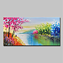 cheap Abstract Paintings-Oil Painting Hand Painted - Abstract / Landscape Modern Canvas