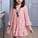 cheap Girls' Dresses-Kids Girls' Active / Sweet Daily / Going out Solid Colored Lace Long Sleeve Polyester Dress Red