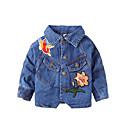 tanie Topy dla dziewczynek-Brzdąc Dla dziewczynek Vintage Solidne kolory Długi rękaw Bawełna Kurtka / płaszcz Niebieski 100