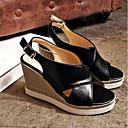 povoljno Ženske sandale-Žene Cipele PU Proljeće / Ljeto Udobne cipele / Obične salonke Sandale Wedge Heel Otvoreno toe Obala / Crn